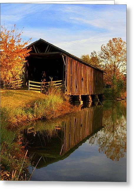 University Of Alabama Digital Greeting Cards - Alamucha Creek Covered Bridge Greeting Card by Mitford Fontaine