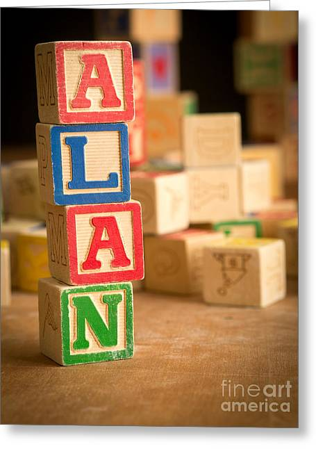 Announcement Greeting Cards - ALAN - Alphabet Blocks Greeting Card by Edward Fielding