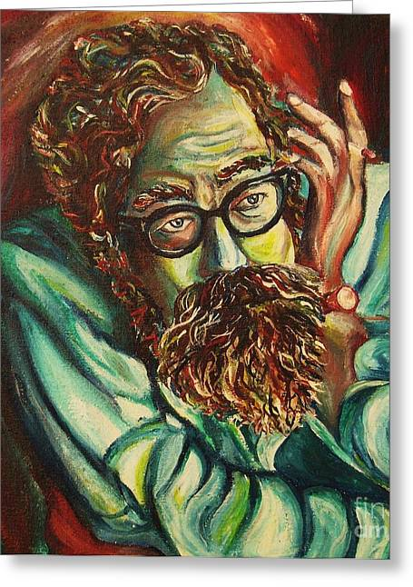Angels Smoking Greeting Cards - Alan Ginsberg Poet Philosopher Greeting Card by Carole Spandau