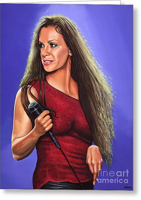 Singer Paintings Greeting Cards - Alanis Morissette Ironic Greeting Card by Paul  Meijering