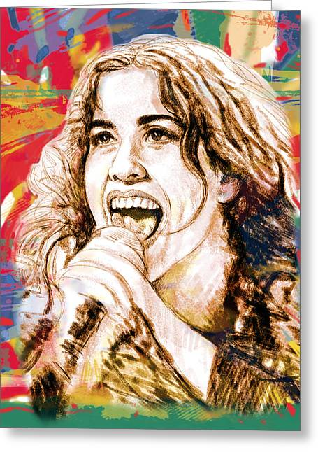 Golden Globe Greeting Cards - Alanis Morissette - stylised drawing art poster Greeting Card by Kim Wang