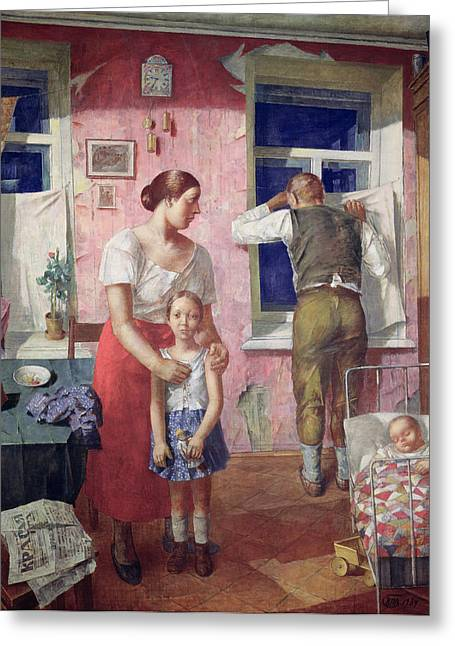 Cot Greeting Cards - Alarm, 1934 Oil On Canvas Greeting Card by Kuzma Sergeevich Petrov-Vodkin