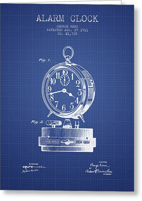 Alarm Greeting Cards - Alarm Clock Patent from 1911 - Blueprint Greeting Card by Aged Pixel