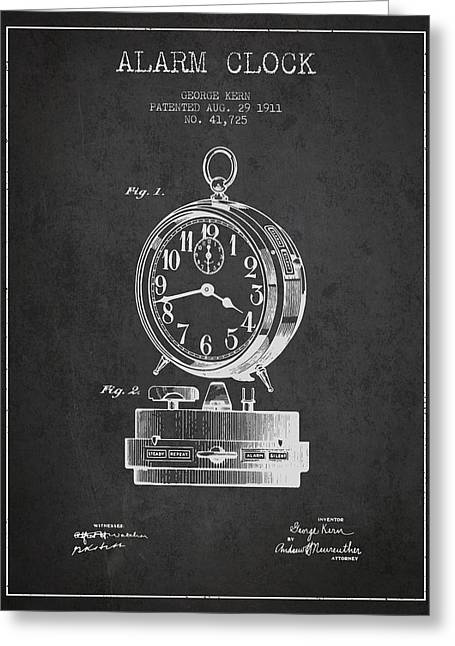 Alarm Greeting Cards - Alarm Clock Patent from 1911 - Dark Greeting Card by Aged Pixel