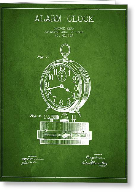 Alarm Greeting Cards - Alarm Clock Patent from 1911 - Green Greeting Card by Aged Pixel