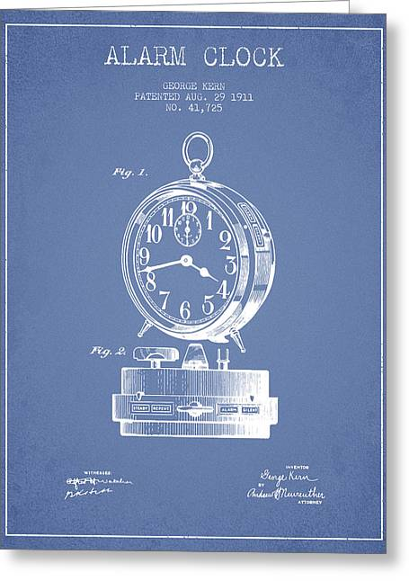 Alarm Greeting Cards - Alarm Clock Patent from 1911 - Light Blue Greeting Card by Aged Pixel