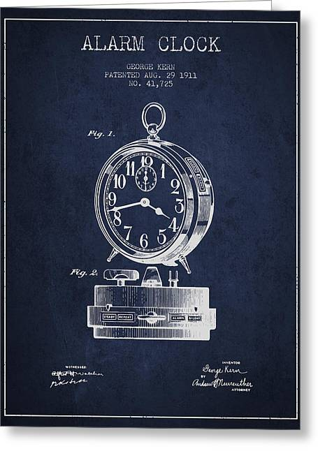 Alarm Greeting Cards - Alarm Clock Patent from 1911 - Navy Blue Greeting Card by Aged Pixel