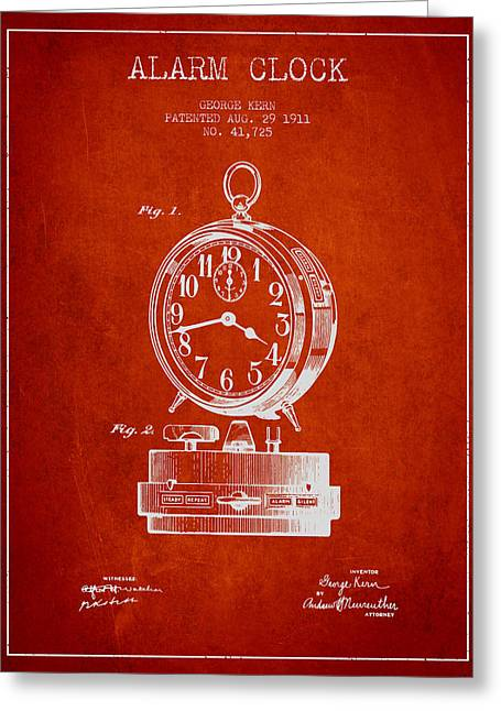Alarm Greeting Cards - Alarm Clock Patent from 1911 - Red Greeting Card by Aged Pixel