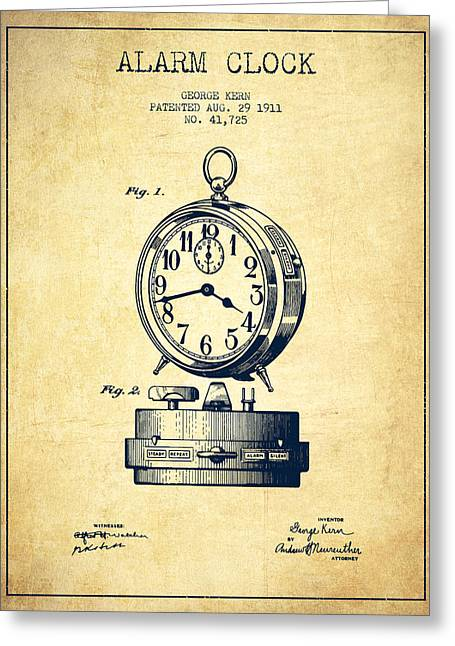Alarm Greeting Cards - Alarm Clock Patent from 1911 - Vintage Greeting Card by Aged Pixel