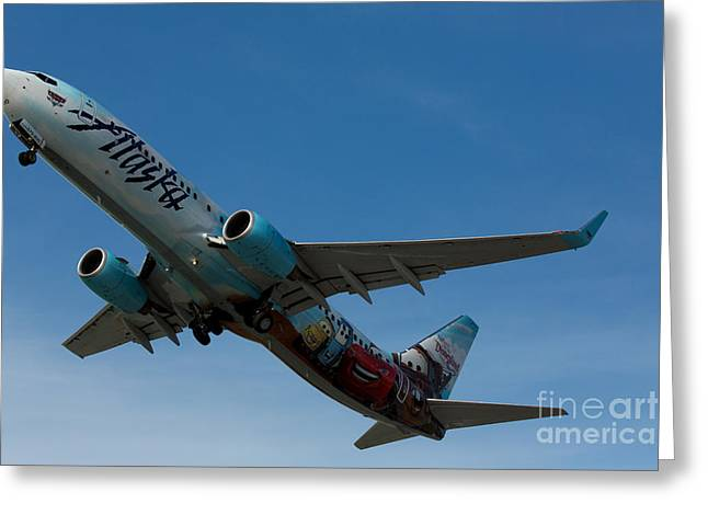 737 Greeting Cards - Alaska Airlines Cars Livery Greeting Card by John Daly