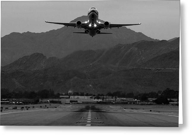 737 Greeting Cards - Alaska Airlines Palm Springs Takeoff Greeting Card by John Daly
