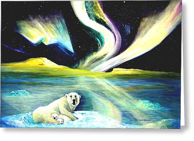 Amimal Greeting Cards - Alaska Aurora First Spring Greeting Card by Dianne Roberson