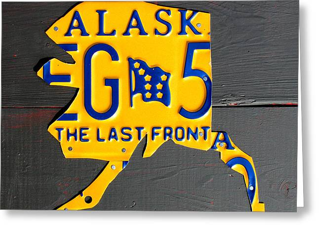 Highway Greeting Cards - Alaska License Plate Map Artwork Greeting Card by Design Turnpike