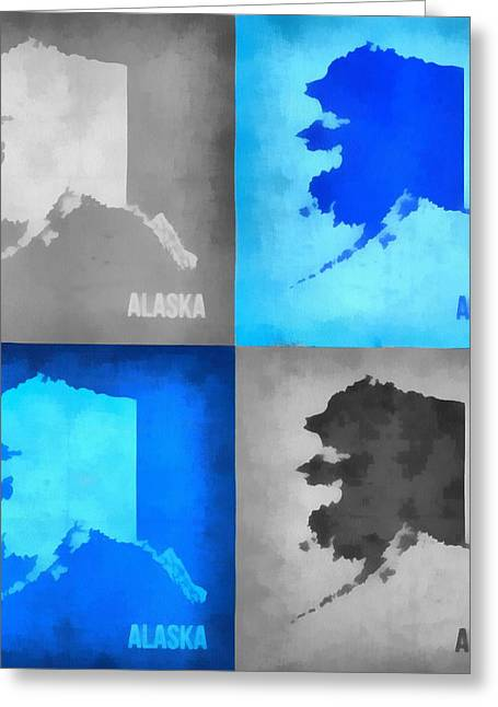 Juneau Park Greeting Cards - Alaska Map Art Greeting Card by Dan Sproul