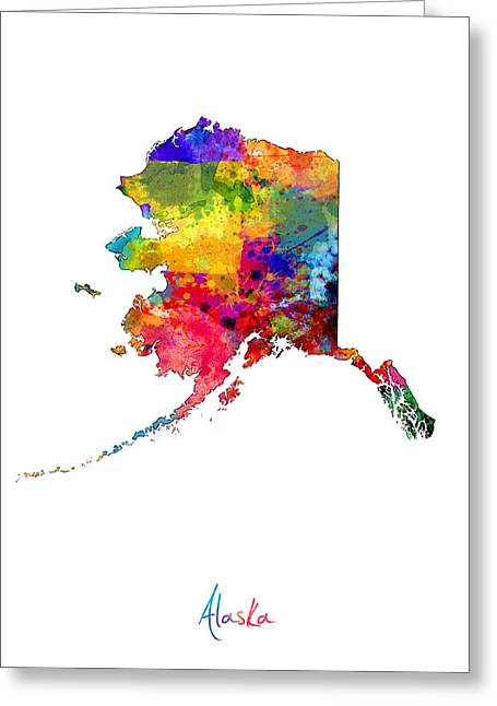 Cartography Digital Art Greeting Cards - Alaska Map Greeting Card by Michael Tompsett