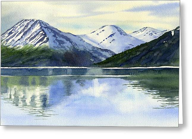 Snow Capped Paintings Greeting Cards - Alaska Mountain Reflections Greeting Card by Sharon Freeman