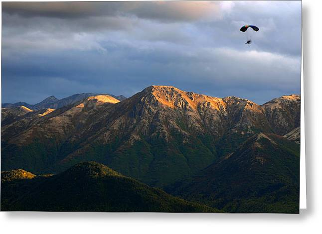 Motorized Greeting Cards - Alaska Paragliding Greeting Card by Ron Day