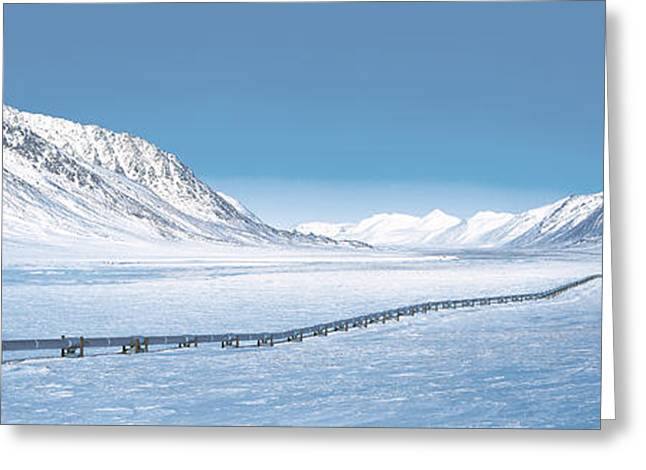 Ak Greeting Cards - Alaska Pipeline Brooks Range Ak Greeting Card by Panoramic Images