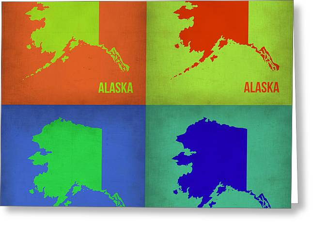 Alaska Greeting Cards - Alaska Pop Art Map 1 Greeting Card by Naxart Studio