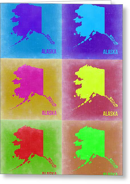 Alaska Greeting Cards - Alaska Pop Art Map 2 Greeting Card by Naxart Studio