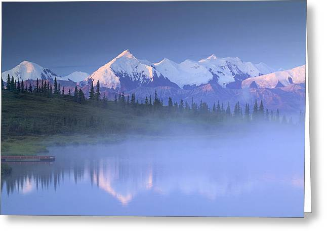 Beautiful Scenery Greeting Cards - Alaska Range Over Wonder Lake In Greeting Card by Michael DeYoung