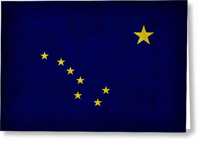 Arctic Circle Greeting Cards - Alaska State Flag Art on Worn Canvas Greeting Card by Design Turnpike