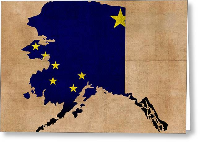 Dated Greeting Cards - Alaska State Flag Map Outline With Founding Date on Worn Parchment Background Greeting Card by Design Turnpike