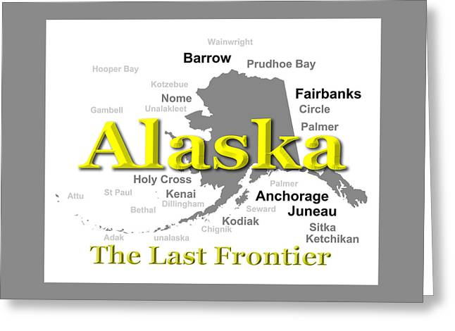 Kodiak Digital Greeting Cards - Alaska State Pride Map Silhouette  Greeting Card by Keith Webber Jr