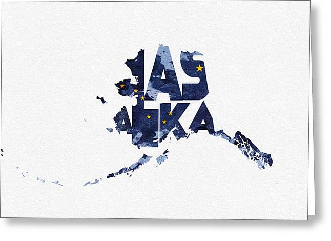 Abstract Map Greeting Cards - Alaska Typographic Map Flag Greeting Card by Ayse Deniz