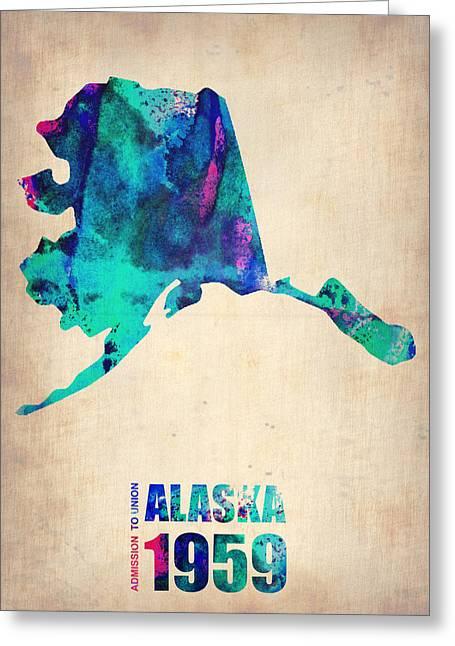 Alaska Greeting Cards - Alaska Watercolor Map Greeting Card by Naxart Studio