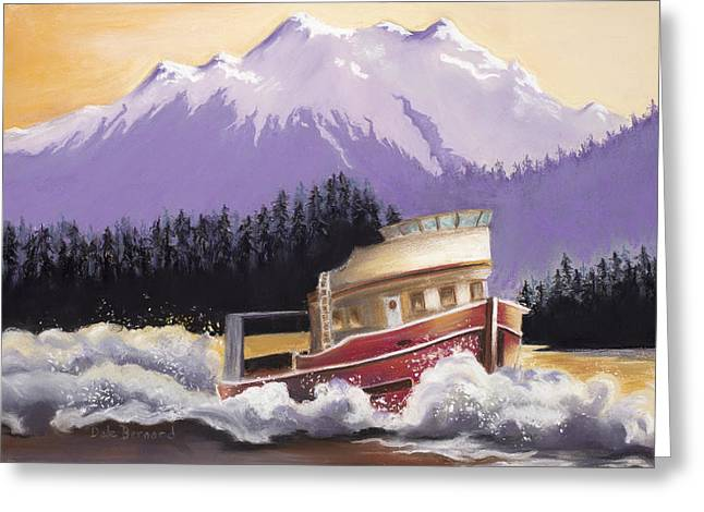 Fishing Boats Pastels Greeting Cards - Alaskan Boat Adventure Greeting Card by Dale Bernard