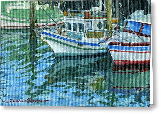 Alaskan Boats in Rippling Water Greeting Card by Shalece Elynne