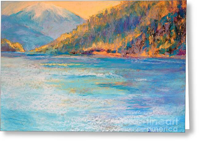 River View Pastels Greeting Cards - Alaskan  Fjord Greeting Card by Arlene Baller