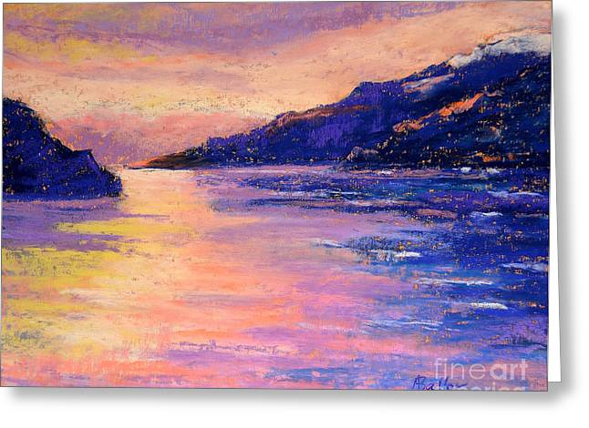 River View Pastels Greeting Cards - Alaskan Fjord II Greeting Card by Arlene Baller