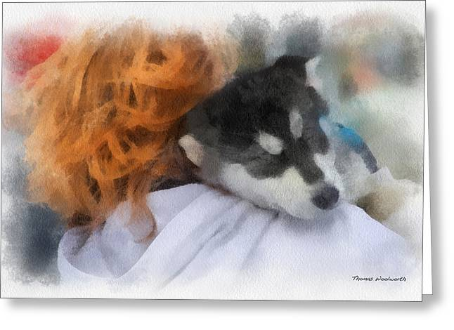 Dogs In Snow. Digital Art Greeting Cards - Alaskan Malamute Puppy Photo Art Greeting Card by Thomas Woolworth