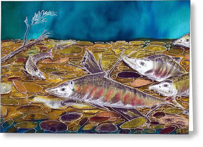 Salmon Paintings Greeting Cards - Alaskan Pinks Greeting Card by Judy Swircenski