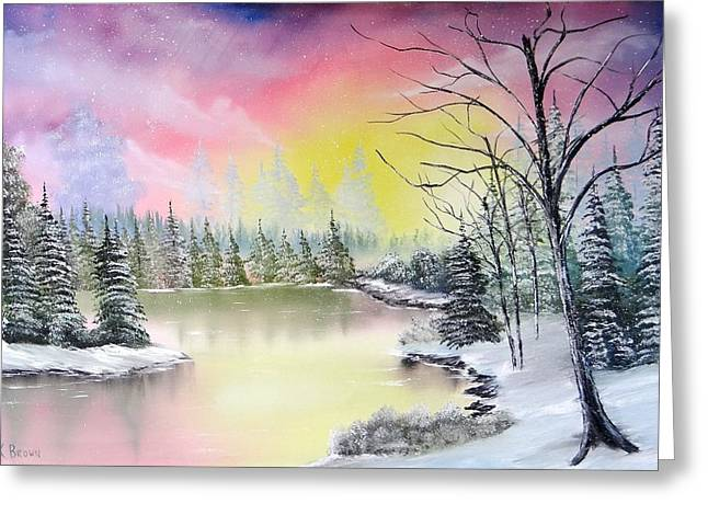 Bob Ross Paintings Greeting Cards - Alaskan Sunset Greeting Card by Kevin  Brown