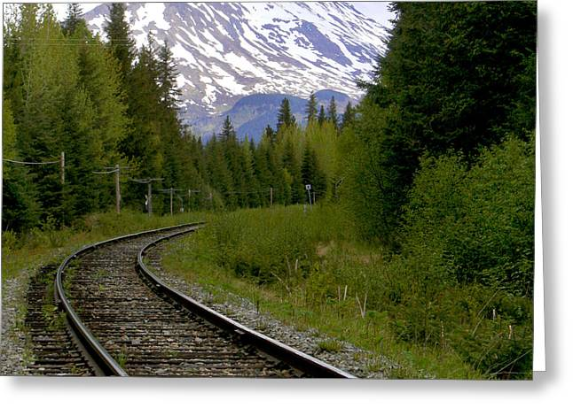 Railroad Railroad Tracks Greeting Cards - Alaskan Tracks Greeting Card by Art Block Collections