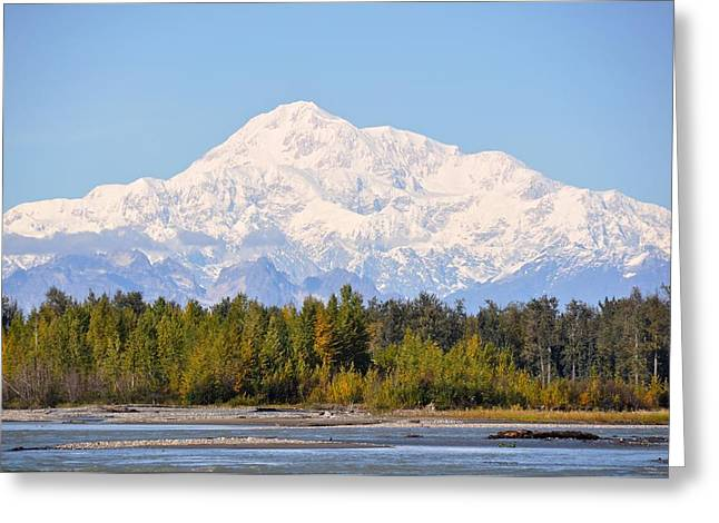 Snow Capped Greeting Cards - Alaskas Great Mckinley Greeting Card by Laura Lowrey