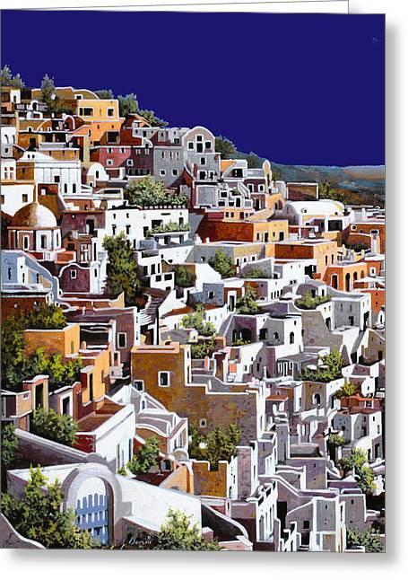 alba a Santorini Greeting Card by Guido Borelli