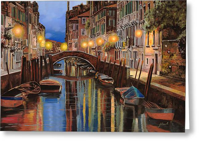 Reflections Paintings Greeting Cards - alba a Venezia  Greeting Card by Guido Borelli