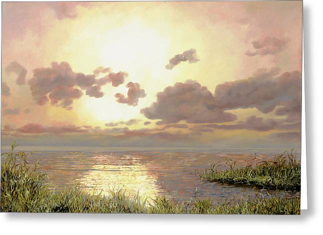 Sunrise Greeting Cards - Alba Nella Palude Greeting Card by Guido Borelli