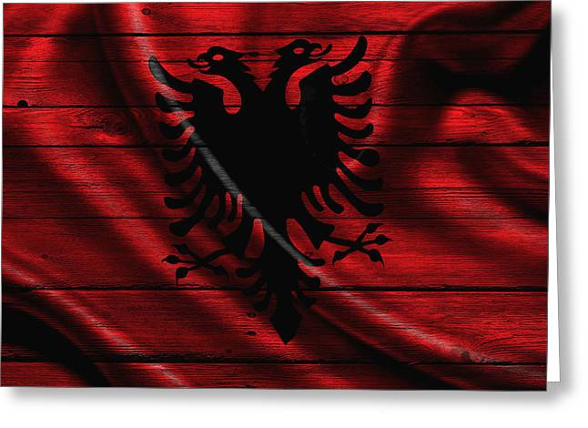 Flag Pole Greeting Cards - Albania Greeting Card by Joe Hamilton