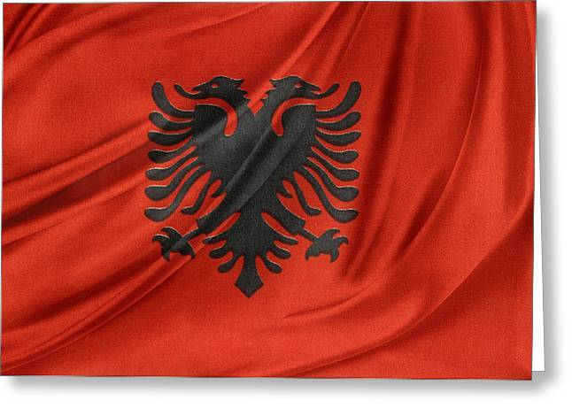 Textile Photographs Greeting Cards - Albanian flag Greeting Card by Les Cunliffe