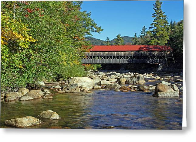 Water Effect Greeting Cards - Albany Covered Bridge in the White Mountains Greeting Card by Juergen Roth