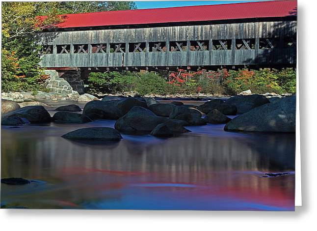 Water Effect Greeting Cards - Albany Covered Bridge Greeting Card by Juergen Roth