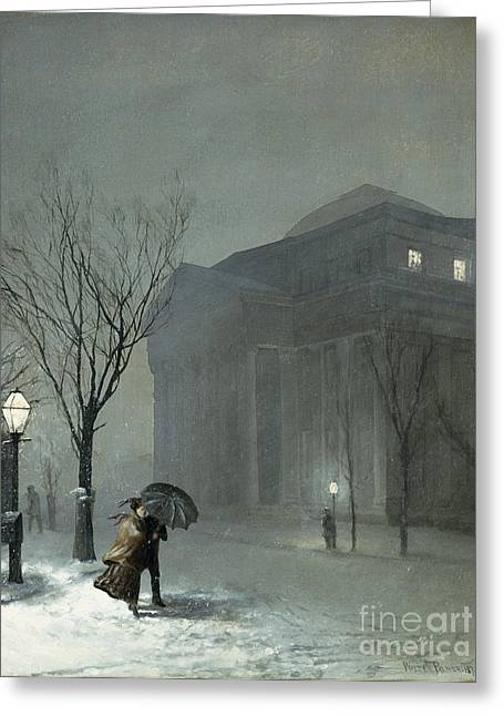 Snowy Night Greeting Cards - Albany in the Snow Greeting Card by Walter Launt Palmer