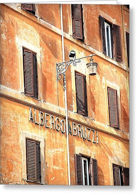 Run Down Greeting Cards - Albergo Abruzzi Greeting Card by Valentino Visentini