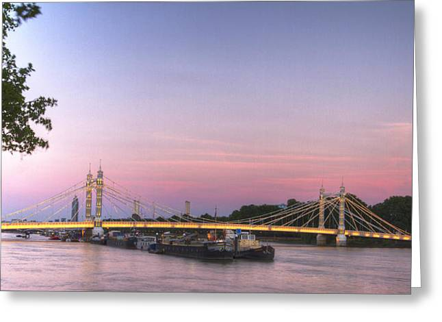 Chelsea Greeting Cards - Albert Bridge at Dusk Greeting Card by David French