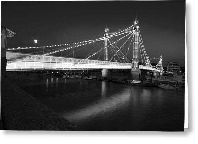 Chelsea Greeting Cards - Albert Bridge at night  Greeting Card by David French